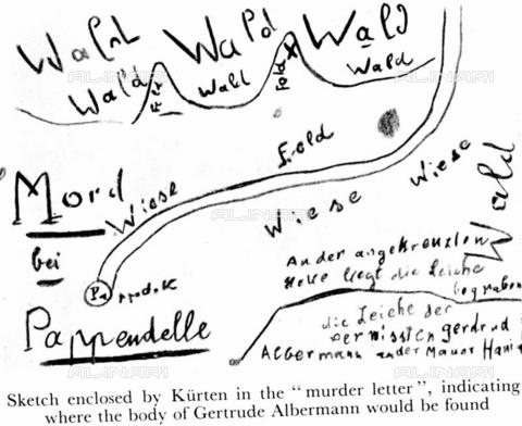 TOP-F-516038-0000 - Sketch executed by the assassin Peter Kurten to indicate the burial place of the corpse of Gertrude Albernamm - TopFoto / Alinari Archives