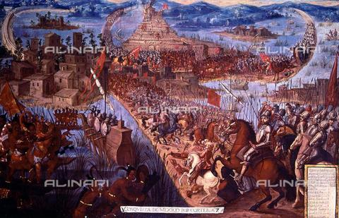 TOP-F-631042-0000 - The Spanish conquest of Tenochtitlán in Mexico, painted, Unknown - TopFoto / Alinari Archives