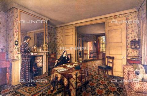 TOP-F-762460-0000 - Thomas e Jane Carlyle nel salotto della casa di Chelsea, olio su tela, Robert Scott Tait (1816–1897) - TopFoto / Archivi Alinari