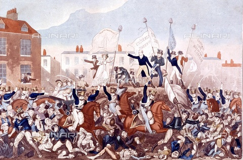 TOP-F-763526-0000 - The Peterloo massacre in 1819 at St Peter's Field in Manchester: crowd in revolt repressed by the British cavalry, color print - TopFoto / Alinari Archives