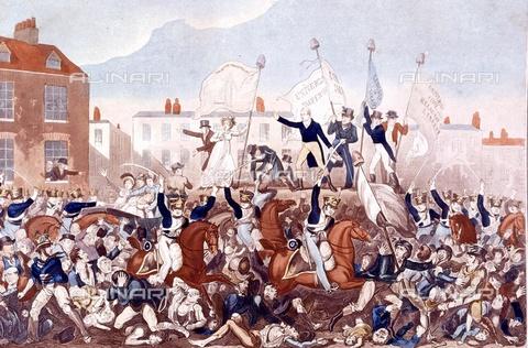 TOP-F-763526-0000 - Il massacro di Peterloo nel 1819 a St Peter's Field a Manchester: folla in rivolta repressa dalla cavalleria britannica, stampa a colori - TopFoto / Archivi Alinari