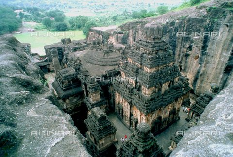 TOP-S-000105-2598 - The temple of Kailasa (Kailasanatha) near the caves of Ellora northeast of Bombay, India; Hindu temple carved into the rock in the 8th and 9th centuries - Fortean / TopFoto / Alinari Archives