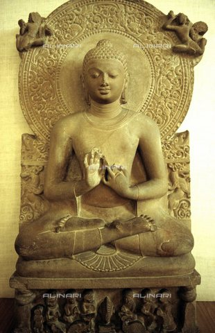 TOP-S-000117-1278 - Statue of Buddha; the gesture of the hands symbolizes the teaching, high relief, Museum of Sarnath, India - Elmar R. Gruber / TopFoto / Alinari Archives
