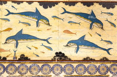 TOP-S-00PD02-3191 - Delfini, affresco, arte minoica, Megaron della Regina, palazzo di Cnosso - Mel Longhurst / TopFoto / Archivi Alinari