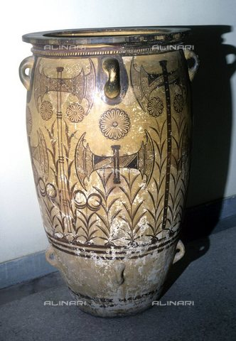 TOP-S-0PD003-0472 - Pithos (giara) con asce dipinte, proveniente dal palazzo di Cnosso, arte minoica, Museo Archeologico di Heraklion, Creta - Ronald Sheridan / TopFoto / Archivi Alinari