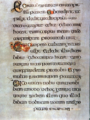 TOP-S-AAC000-6564 - Book of Kells: Last Supper and celebration of the Eucharist, illuminated page, 9th century art, Trinity College Library, Dublin - 2004/ AAAC (Ancient Art & Architecture Colle) / TopFoto / Alinari Archives