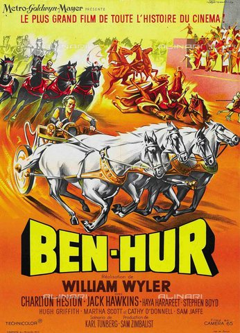 "TOP-S-WHA012-4633 - Locandina del film ""Ben Hur"" (1959) diretto da William Wyler con Charlton Heston e Jack Hawkins - TopFoto / Archivi Alinari, World History Archive"