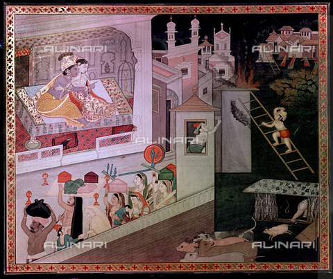 UIG-F-031119-0000 - Krishna and Radha observe how the village is consumed by fire, symbol of their passion, illustration of Hindu school, 1785 - 1790, Kangra - UIG/Alinari Archives