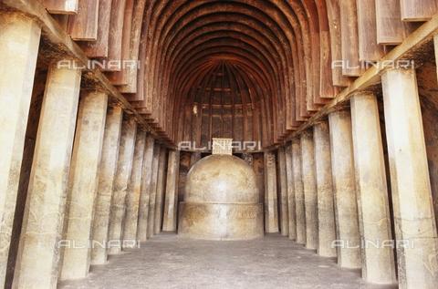 UIG-F-031122-0000 - Stupa in Chaitya, 2nd cent. B.C., wooden vault and rock architecture, Bhaja caves near Malavali, Maharashtra, India - UIG/Alinari Archives