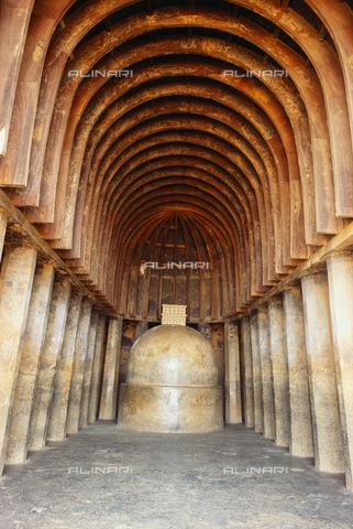 UIG-F-031123-0000 - Stupa in Chaitya, 2nd cent. B.C., wooden vault and rock architecture, Bhaja caves near Malavali, Maharashtra, India - UIG/Alinari Archives