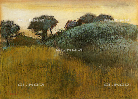 UIG-F-031125-0000 - Country landscape with wheat field, oil on canvas, Edgar Degas (1834 -1917) - UIG/Alinari Archives