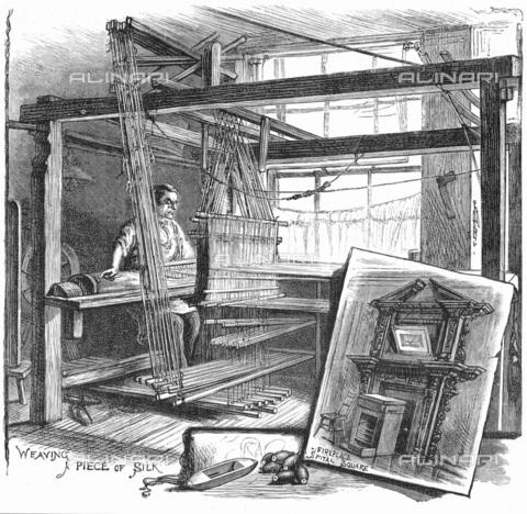 """UIG-F-033618-0000 - Tessitore della seta a Spitalfields, incisione tratta da """"Cassell's Family Magazine"""" (1884) - UIG/Archivi Alinari"""