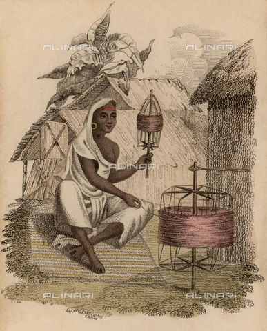 UIG-F-033622-0000 - Donna indiana durante la lavorazione della seta, incisione pubblicata da Rudolph Ackermann (1822) - UIG/Archivi Alinari