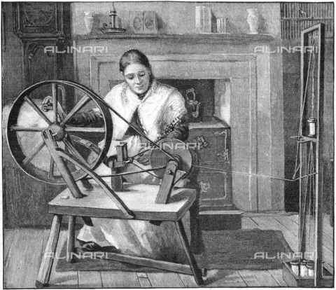 UIG-F-033624-0000 - Tessitrice durante la lavorazione della seta a Spitalfields, incisione (1893) - UIG/Archivi Alinari