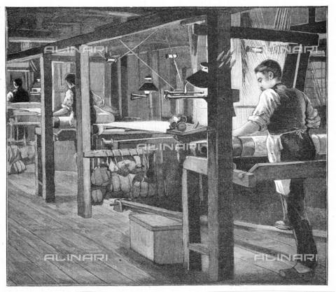 UIG-F-033625-0000 - Tessitori di seta a Spitalfields all'interno della manifattura della Warner alla fine del XIX secolo, incisione (1893) - UIG/Archivi Alinari