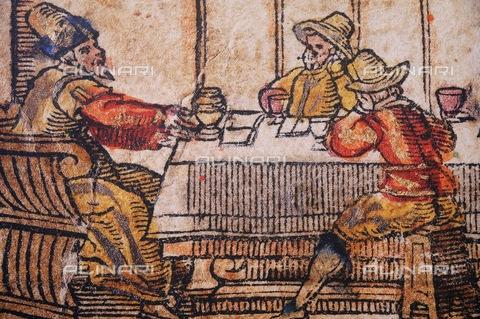 UIG-F-116929-0000 - Ebrei intorno a una tavola, illustrazione di un testo narrativo del Talmud, incisione, Venice Haggadah, Gerusalemme, Museo d'Israele - UIG/Archivi Alinari, Pascal Deloche / Godong