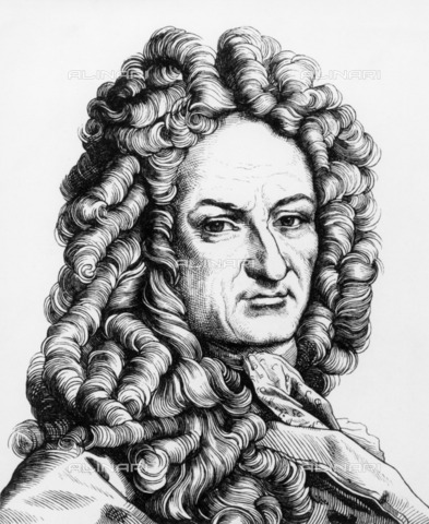 ULL-F-030976-0000 - The philosopher and mathematician Gottfried Wilhelm Leibniz (1646-1716), engraving, Leopold Hugo Burkner (1818-1897) - Ullstein Bild / Alinari Archives