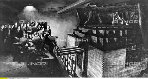 ULL-F-092677-0000 - Atomic Bomb: a drawing depicting the first controlled chain reaction in a nuclear reactor in an underground lab of the University of Chicago - dpa / Ullstein Bild / Alinari Archives