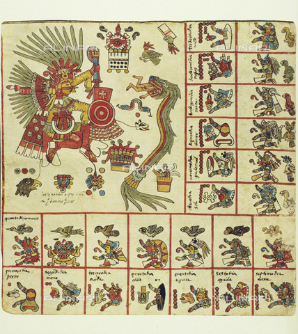 ULL-F-220352-0000 - The deities Xipe Totec and the feathered serpent Quetzalcoatl rulers of the augural calendar Tonalamatl together with the lords of the day and night, illustration of the Codex Borbonicus, Aztec art of the early sixteenth century, facsimile, Bibliothèque de l'Assemblée Nationale, Paris - Archiv Gerstenberg / Ullstein Bild / Alinari Archives