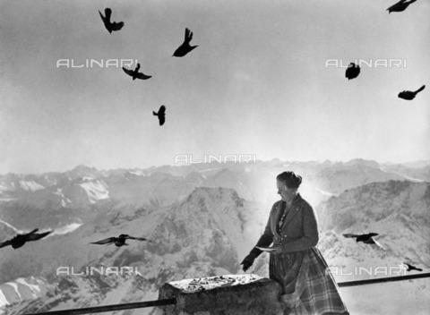ULL-F-226510-0000 - Woman giving food to the birds on top of the Zugspitze in Bavaria - Data dello scatto: 1934 - Alfred Eisenstaedt / Ullstein Bild / Alinari Archives