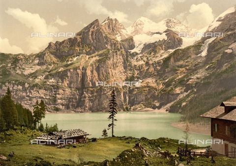 ULL-F-304394-0000 - View of Lake Oeschinen with the Bluemlisalp, Bernese Alps - Data dello scatto: 1900 ca. - histopics / Ullstein Bild / Alinari Archives
