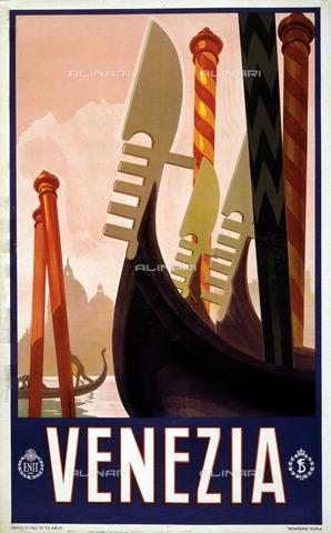 "ULL-F-304579-0000 - Poster ""Venezia"" of the Italian Tourist Office ENIT (National Tourist Industries Agency) with the representation of the gondolas - histopics / Ullstein Bild / Alinari Archives"