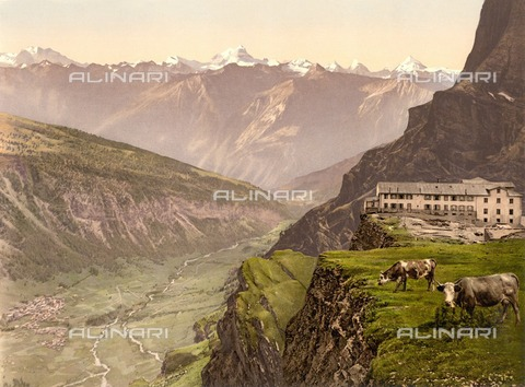 ULL-F-305893-0000 - Switzerland, canton of Wallis, Bernese Alps, Hotel Wildstrubel at the Gemmi Pass with view to Leukerbad (Loèche-les-Bains) in the Dala Valley, Bernese Alps - Data dello scatto: 1900 ca. - histopics / Ullstein Bild / Alinari Archives