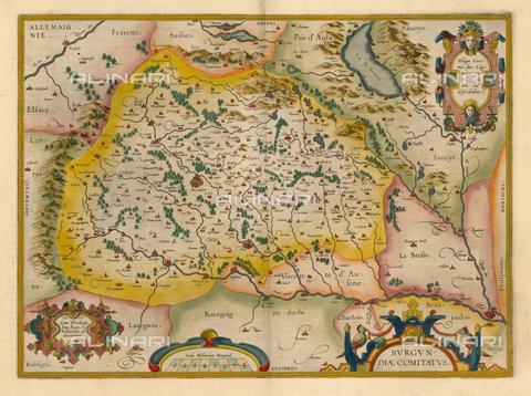 """ULL-F-307931-0000 - Map of Burgundy, """"Burgundiae Comitatus"""", from the French edition of 1587 of the Theatrum Orbis Terrarum by Abraham Ortelius (1527-1598) - ullstein bild - histopics / Ullstein Bild / Alinari Archives"""