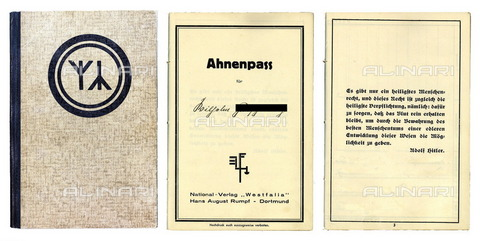 "ULL-F-408096-0000 - Similar to an ""Ahnenpass"": a Nazi document attesting to the Aryan race - Frischmuth / Ullstein Bild / Alinari Archives"