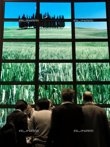 ULL-F-728895-0000 - Gruppo di spettatori di fronte ad una schermata di televisori raffigurante un campo verde, Berlino, Germania, 1 Settembre 2003 - Data dello scatto: 1 Settembre 2003 - Muhs/CARO / Ullstein Bild / Archivi Alinari