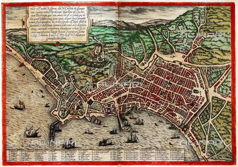 ULL-S-000103-8598 - The bay and the city of Naples, illustrated by Civitatis Orbis Terrarum by Georg Braun and Franz Hogenberg, Vol. 1, 1572, engraving, Antonio Lafreri (1512-1577) - histopics / Ullstein Bild / Alinari Archives