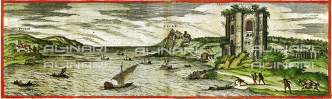 ULL-S-000103-8611 - An ancient building in the bay of Naples, illustrated by Civitatis Orbis Terrarum by Georg Braun and Franz Hogenberg, Vol. 2, 1575, engraving - histopics / Ullstein Bild / Alinari Archives
