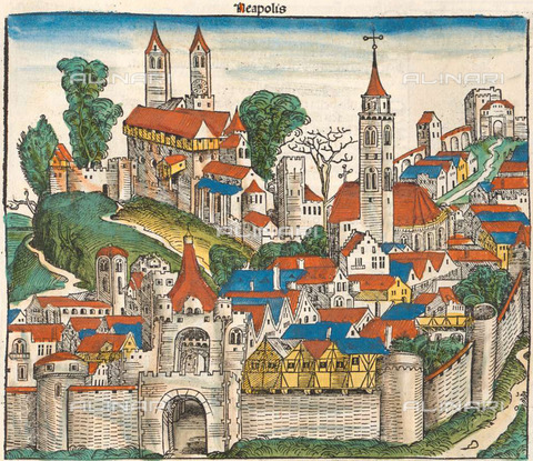 ULL-S-000104-5968 - Imaginary view of the city of Naples, illustration of the Chronicles of Nuremberg or Liber Chronicarum, engraving, Michael Wolgemut (1434 - 1519) - histopics / Ullstein Bild / Alinari Archives