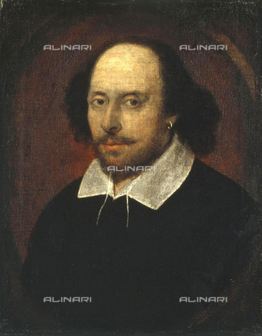 ULL-S-000112-2637 - Portrait of British poet and playwright William Shakespeare, Chandos Portrait, oil on canvas, attributed to John Taylor (-1651), National Portrait Gallery, London - histopics / Ullstein Bild / Alinari Archives