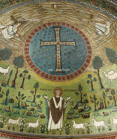 ULL-S-000519-9221 - Sant'Apollinare, detail of the Transfiguration of Christ on Mount Tabor, mosaic, Byzantine art of the 6th century, apse, Basilica of Sant'Apollinare in Classe, Ravenna - INSADCO / Ivan Vdovin / Ullstein Bild / Alinari Archives