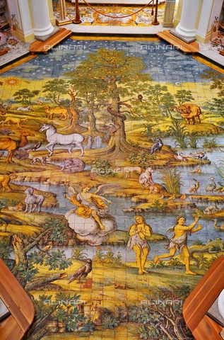 ULL-S-100775-9712 - Adam and Eve hunted by the Earth's Paradise, majolica floor, Leonardo Chiaiese, church of San Michele Arcangelo, Anacapri - Data dello scatto: 06/05/2014 - Ihlow / Ullstein Bild / Alinari Archives