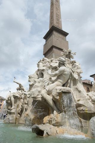 ULL-S-101191-1867 - Fountain of the Four Rivers, detail, Gian Lorenzo Bernini (1598-1680), Piazza Navona, Rome - Data dello scatto: 22/04/2016 - Hackenberg / Ullstein Bild / Alinari Archives