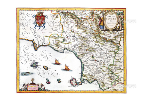 ULL-S-101481-0663 - Campania's geographical map, 1640, from Atlas Maior or Theatrum Orbis Terrarum, is a black Atlas Novus in the Taboos and Descriptiones Omnium Regionum by Joan Blaeu (1596-1673) - Historic Maps / Ullstein Bild / Alinari Archives