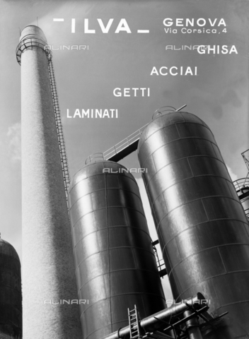VBA-S-007060-0471 - ILVA factory of Genoa. Publicity shot of the production of cast iron, steel, spray and laminant products. Blast furnaces are visible.
