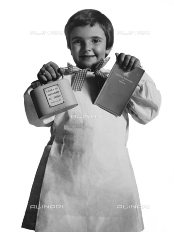 VBA-S-A05605-0033 - Child in smock shows the book of Imola Mutual Savings Bank