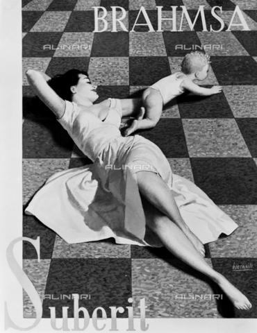 VBA-S-A07104-0003 - Cartellone pubblicitario raffigurante una giovane donna che gioca sdraiata sul pavimento, con in bambino - Data dello scatto: 1960 ca. - Archivi Alinari, Firenze