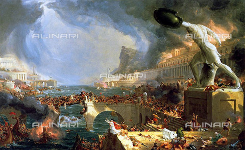 WHA-F-020639-0000 - Destruction of Rome by the Visigoths, painting, Thomas Cole (1801-1848) - World History Archive/Alinari Archives
