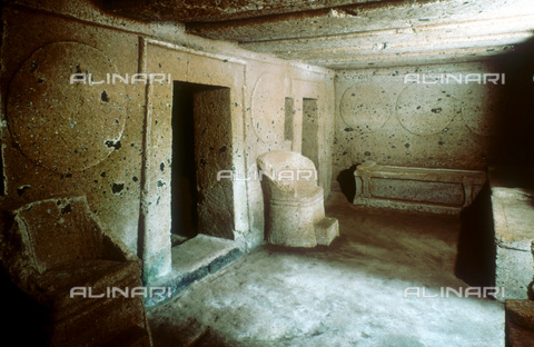 WHA-S-000115-5218 - Tomb of the Shields and Chairs, Etruscan necropolis, Cerveteri, (Caere) - Ann Ronan Picture Library / Heritage-Images / World History Archive/Alinari Archives