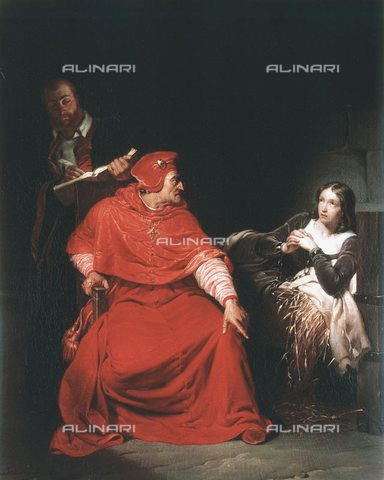 WHA-S-051000-0253 - Joan of Arc and the Cardinal of Winchester in 1431, oil on canvas, Delaroche, Hippolyte (Paul) (1797-1856), Musée des Beaux-Arts, Rouen - World History Archive/Alinari Archives