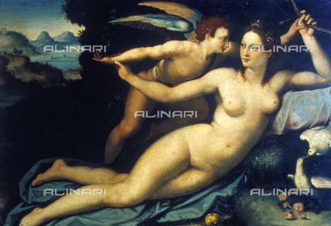 WHA-S-051000-0459 - Venus and Cupid, oil on canvas, Allori Alessandro (1535-1607), Uffizi Gallery, Florence - World History Archive/Alinari Archives