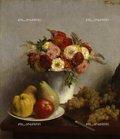 WHA-S-051000-1840 - Flowers and fruit, oil on canvas, Fantin-Latour, Henri (1836-1904), Musée d'Orsay, Paris - World History Archive/Alinari Archives