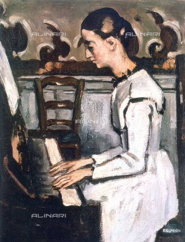 WHA-S-051000-3261 - Girl at the Piano (Overture to Tannhauser), deatil, oil on canvas, Cezanne, Paul (1839-1906), Hermitage Museum, St. Petersburg - World History Archive/Alinari Archives