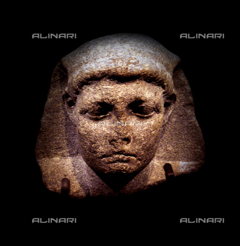 WHA-S-WHA033-0992 - Head of Tolomeo Filopatore Filometore Cesare, better known as Cesarione, last king of the Ptolemaic dynasty of Egypt, stone, Egyptian art, Bibliotheca Alexandrina, Alexandria of Egypt - World History Archive/Alinari Archives