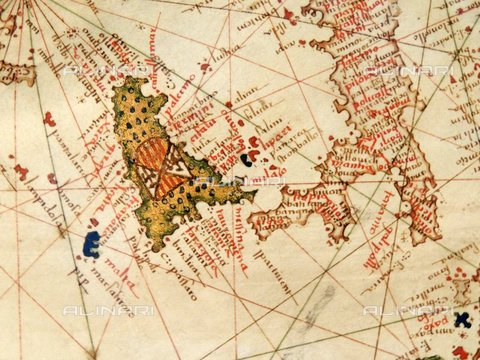 WHA-S-WHA041-0422 - Italy and Sicily depicted in Jacopo Russo Map of the world 16th century circa 1528 from the 'Carte Geografiche' (vellum) - World History Archive/Archivi Alinari