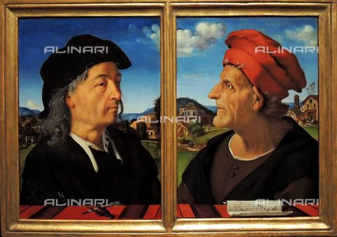 WHA-S-WHA041-0468 - Portraits of Giuliano Giamberti da Sangallo and Francesco Giamberti (father of Giuliano da Sangallo and Antonio da Sangallo il Vecchio),  by Piero di Cosimo, 1482 - 1485. Piero di Cosimo (2 January 1462  12 April 1522), also known as Piero di Lorenzo, was an Italian Renaissance painter. diptych showing the Florentine architects Giuliano da Sangallo and his recently deceased father Francesco. These are among the earliest portraits to characterize their sitters by profession: a pen and compass allude to architecture, the sheet music to music. Giuliano da Sangallo (c. 1445  1516) was an Italian sculptor, architect and military engineer. Francesco da Sangallo (1494-1576) was an Italian High Renaissance sculptor - World History Archive/Archivi Alinari